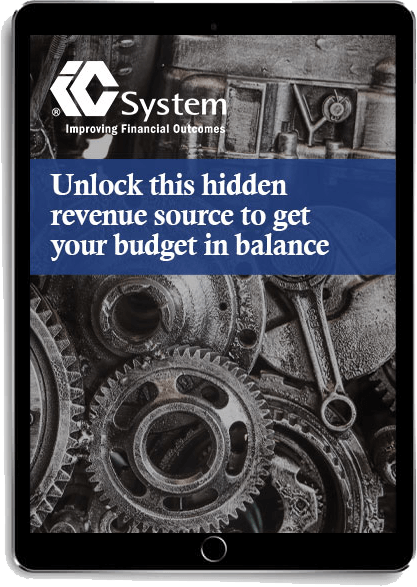 """""""Unlock this hidden revenue source to get you budget in balance"""" eBook displayed on tablet"""