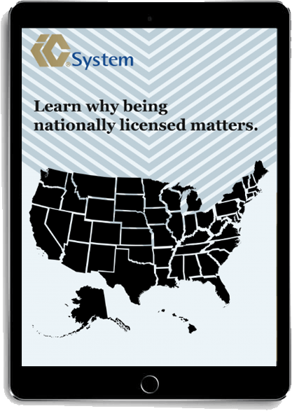 """The text """"Learn why being nationally licensed matters"""" displayed with a map of the United States on a tablet."""