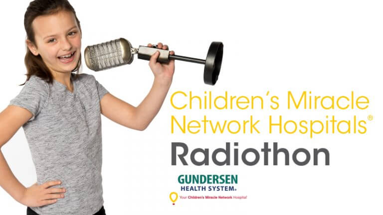 """A young girl smiling and holding a vintage microphone with text """"Children's Miracle Network Hospitals Radiothon Gundersen Health System"""