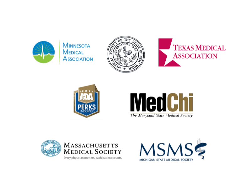 Minnesota Medical Association, Medical Society of the State of New York, Texas Medical Association, Massachusetts Medical Society, Michigan State Medical Society, ADA Perks Endorsed, and The Maryland State Medical Society
