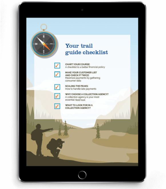 Your trail guide checklist from the Handy Trail Guide to Faster Payments & Increasing Cash Flow eBook displayed on a tablet