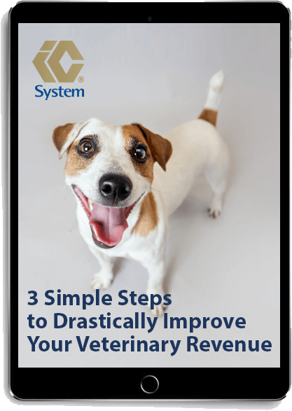 3 Simple Steps to Drastically Improve Your Veterinary Revenue ebook displayed on a tablet