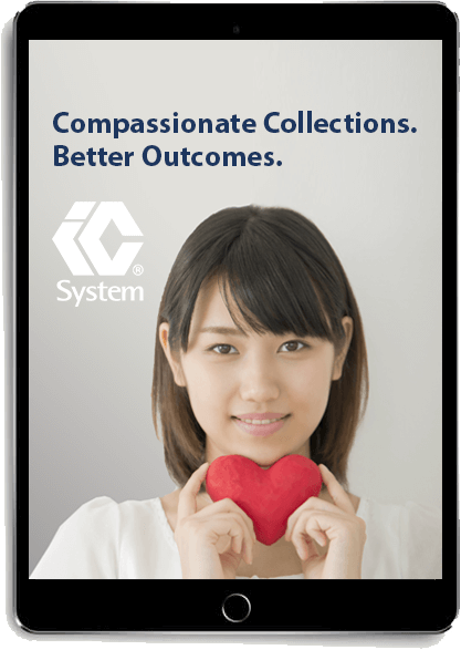 """eBook """"Compassionate Collections. Better Outcomes."""" displayed on tablet"""