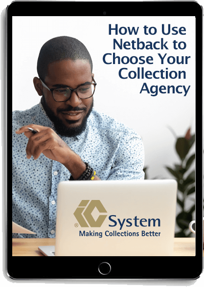 """""""How to Use Netback to Choose Your Collection Agency"""" eBook displayed on tablet"""